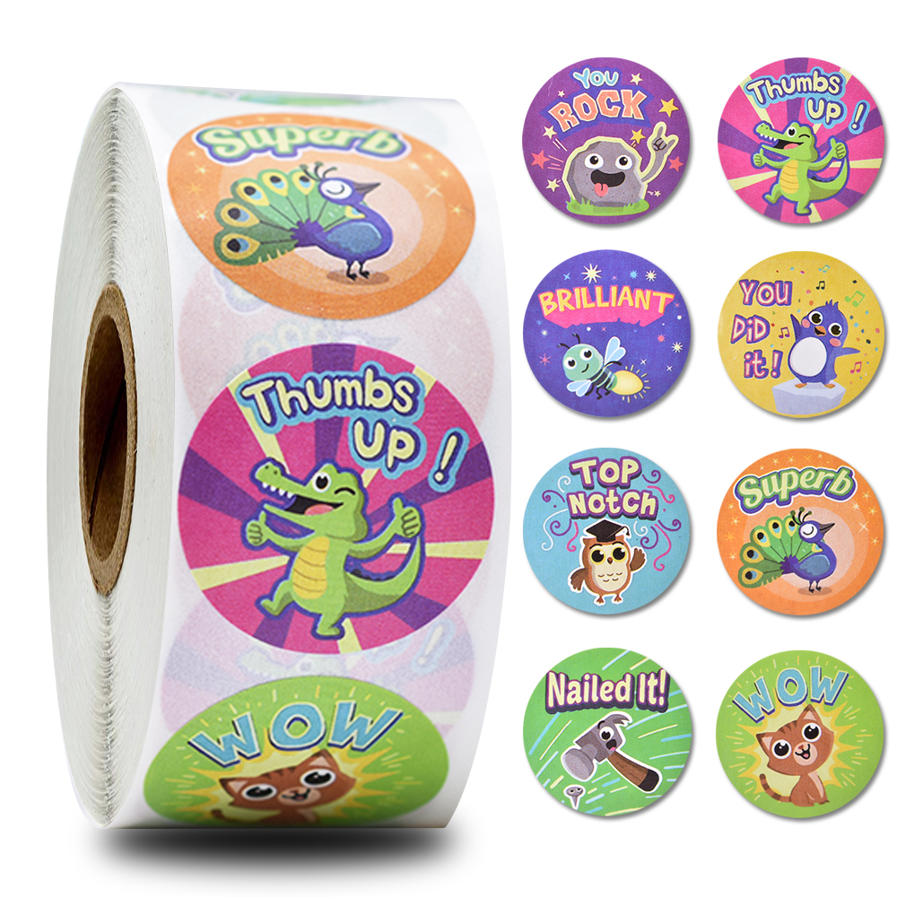 500 / roll 1 inch cartoon animal stickers waterproof reward stickers for girls boys gift stickers stationery stickers