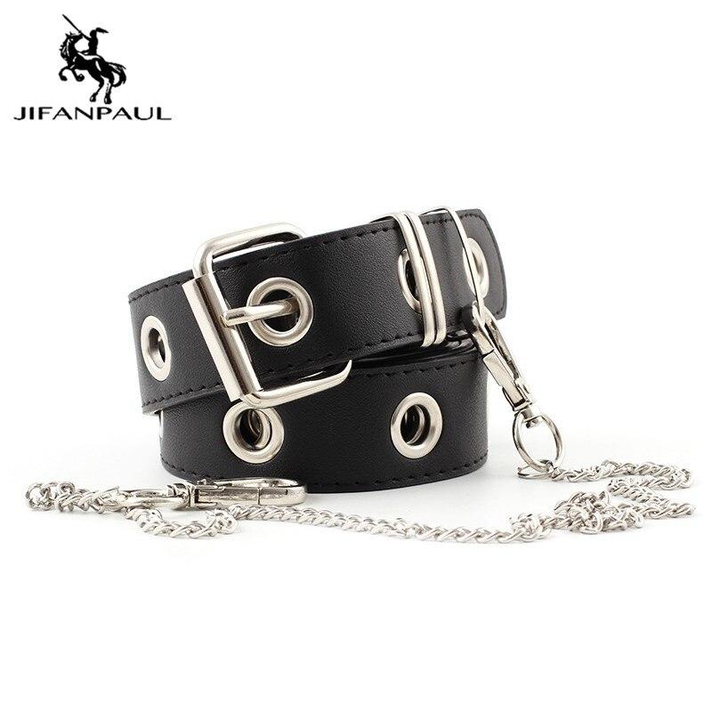 JIFANPAUL women belt new punk fashion belts for women High-quality belt Single Stomata Retro Jeans belt ornaments belts women