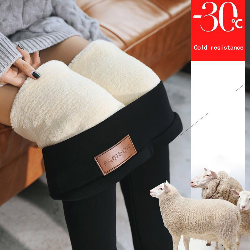 High Winter Warm Thick Cashmere Pants Leggings High Waist Stretchy Soft for Outdoor Women DSM