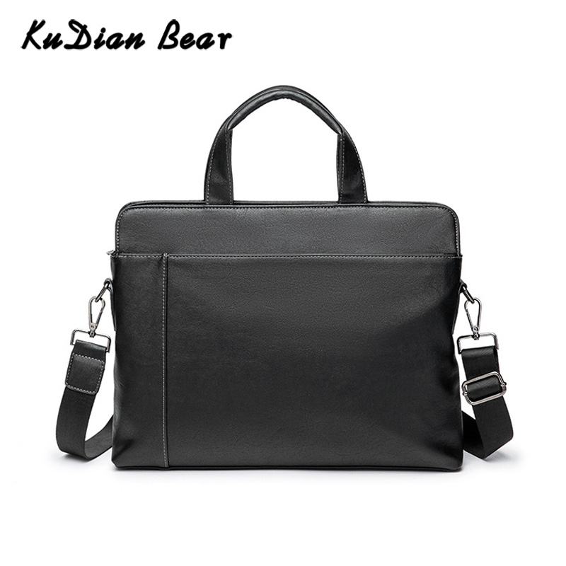 KUDIAN Bear Minimalist Men's Briefcase Bags Laptop Black Business Men Bag Handbags PU Leather Shoulder Bags Bolsa BIG037 PM49