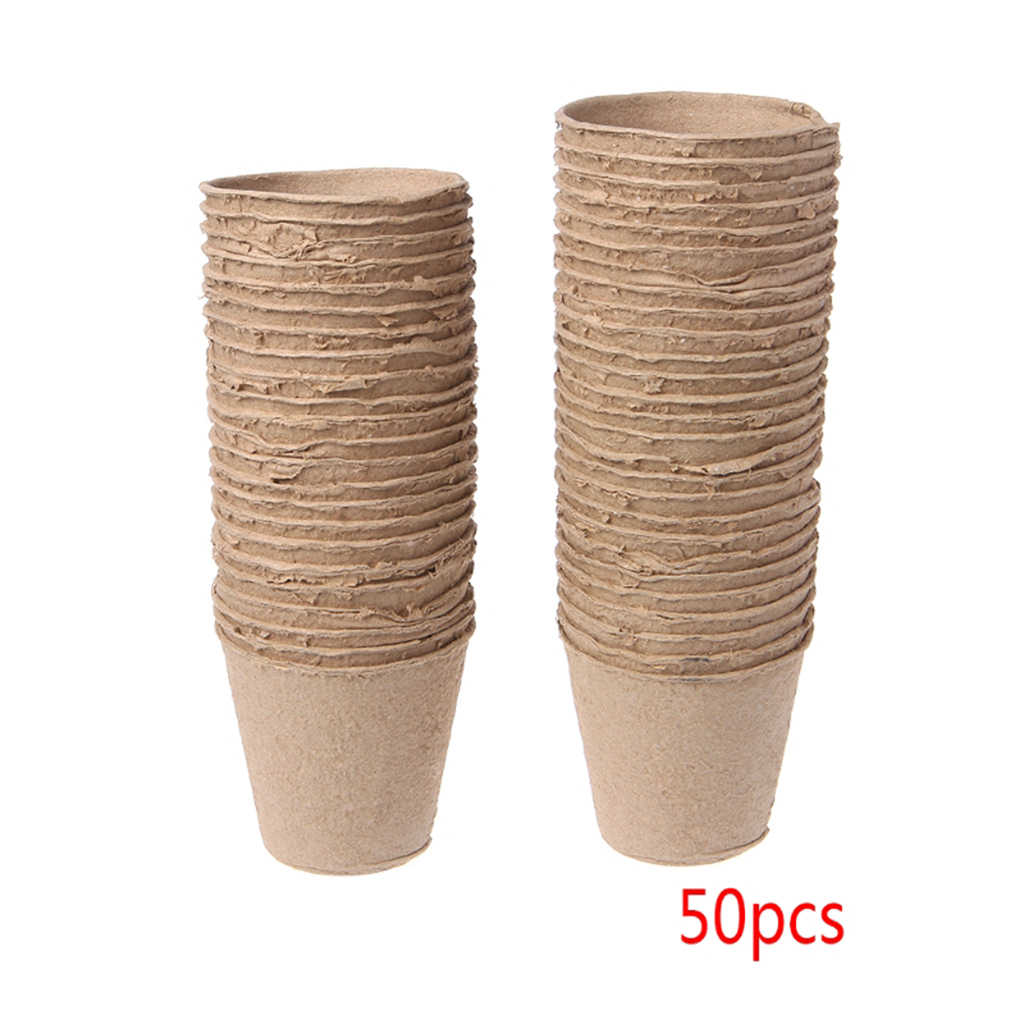 "50Pcs 2.4"" Paper Pot Starters Seedling Herb Seed Nursery Cup Kit Organic Biodegradable Eco-Friendly Home Cultivation"