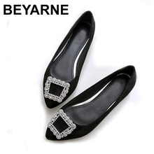BEYARNE Spring autumn Fashion Suede womens shoes large size flat bottomed shoes woman pointed leisure comfortable driving shoes