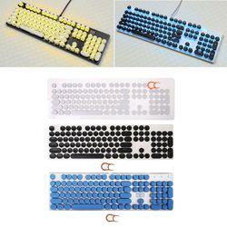 Teclas redondas Retro de 104 teclas, doble toma, para máquina de escribir, para teclado mecánico retroiluminado
