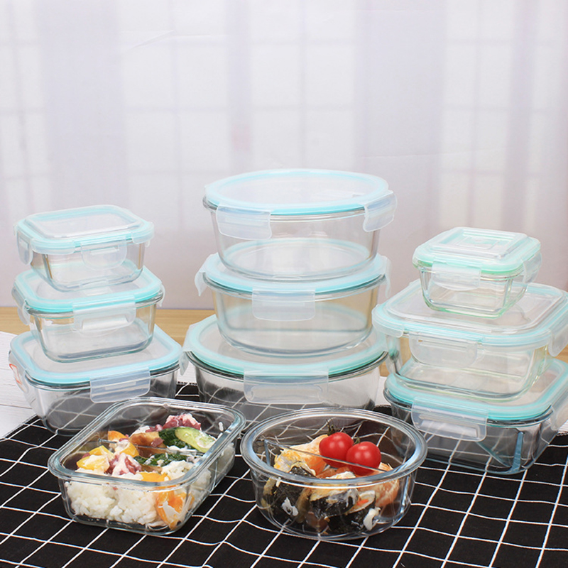 New Style Glass Lunch Box Food Storage Box Microwave Bento Box School Food Containers With Compartments