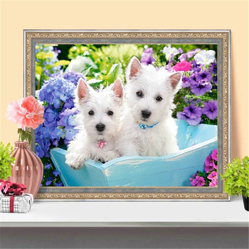 HUACAN Full Square Diamond Embroidery Animal Painting Cross Stitch Dog Round Diamond Mosaic Picture Handcraft