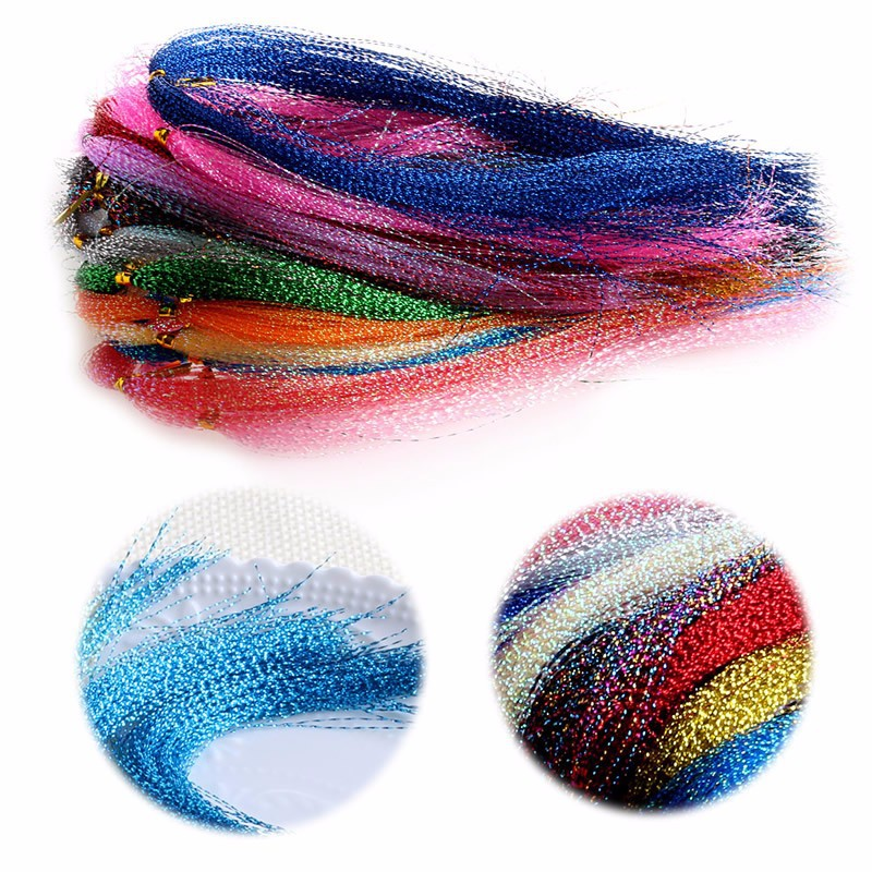1000Pcs Colorful Silk Bait Line Crystal Flash Fly Tying Material Holographic Fishing Lure Tying Making String Hook Accessories