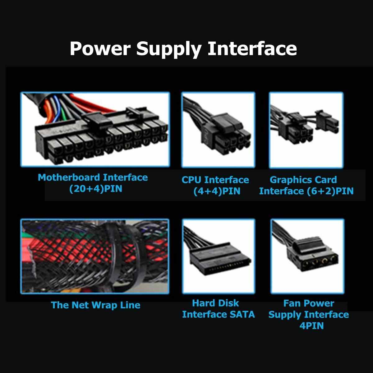 1000W PFC moc pc dostaw 140mm cichy LED rgb wentylator 24 Pin PCI zasilacz SATA 6Pin 4Pin ATX 12V do gier zasilacz do komputera