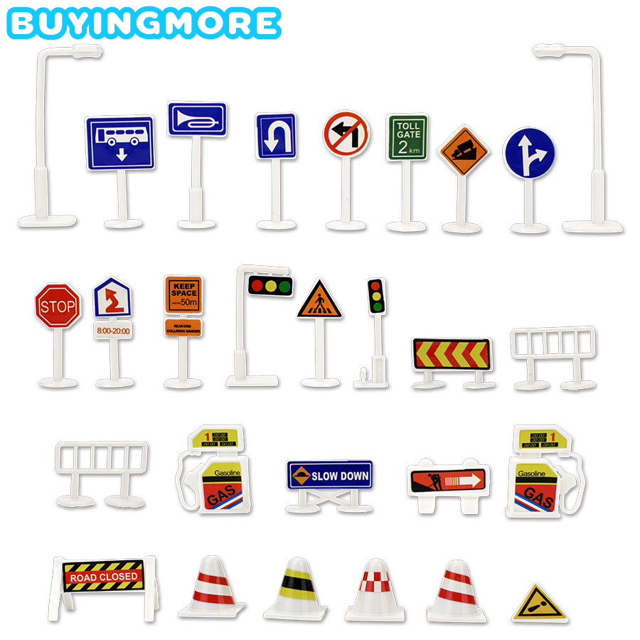 28 Pcs Car Toy Accessories Traffic Road Sign Creative Model Toy DIY City Parking Lot Roadmap Educational Toys For Kids Game Gift