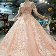 LS324749 açık renk kızlar pageant parti elbiseler uzun tül kollu yüksek boyun fırça tren güzellik sonbahar uzun abiye