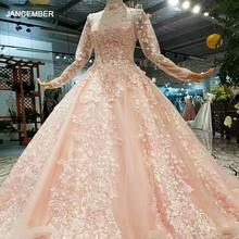 LS324749 light color girls pageant party dresses long tulle sleeves high neck  brush train beauty autumn long evening dresses
