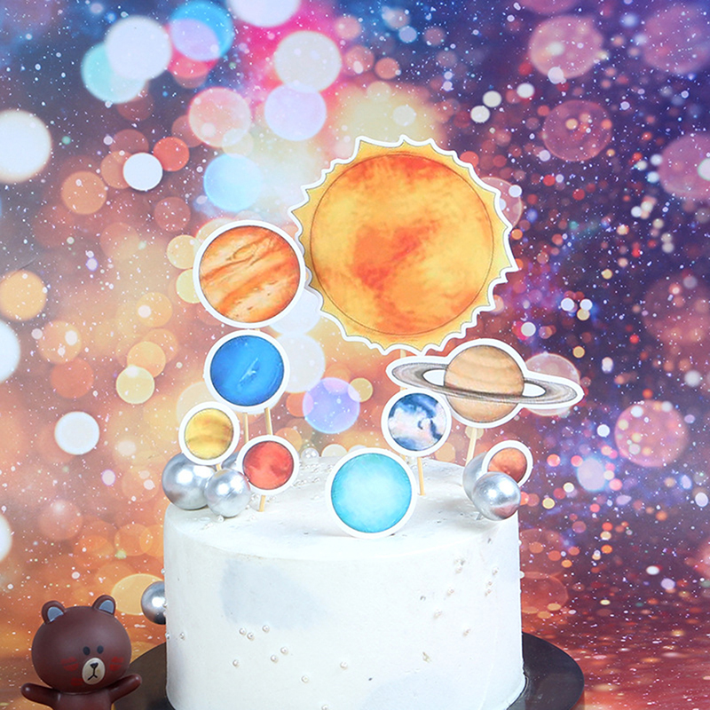 Outer Space Party Astronaut Rocket Ship Theme Foil Balloons Galaxy/Solar System Party Cake Toppers Boy Birthday Supplies-2