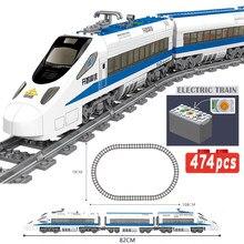 Clássico cidade trem ferroviário técnico alimentado a bateria elétrica de alta velocidade railway blocos de construção tijolos brinquedos para presentes do miúdo