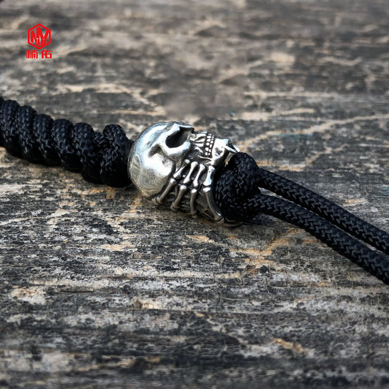 925 argent Original fait à la main eextraterrestre en forme de crâne araignée couteau perles EDC parapluie corde couteau perles pendentif - 4