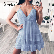 Simplee sangle dos nu mini robe d'été femmes col en V gland sexy dentelle robe blanche femme 2020 streetwear plage robe vestidos(China)