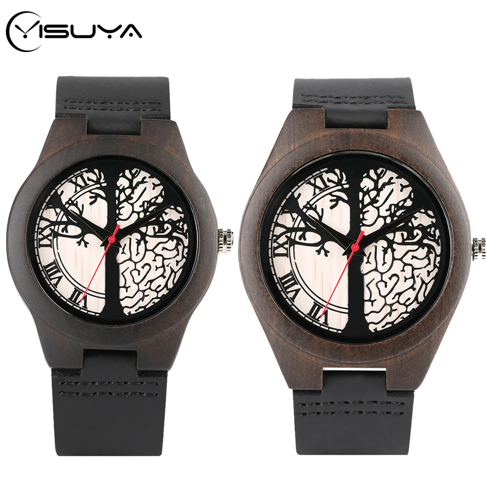 YISUYA Art Life Tree Sketch Wood Watch Handmade Quartz Wooden Clock Male Genuine Leather Lover's Gifts For Men Women Retro Reloj