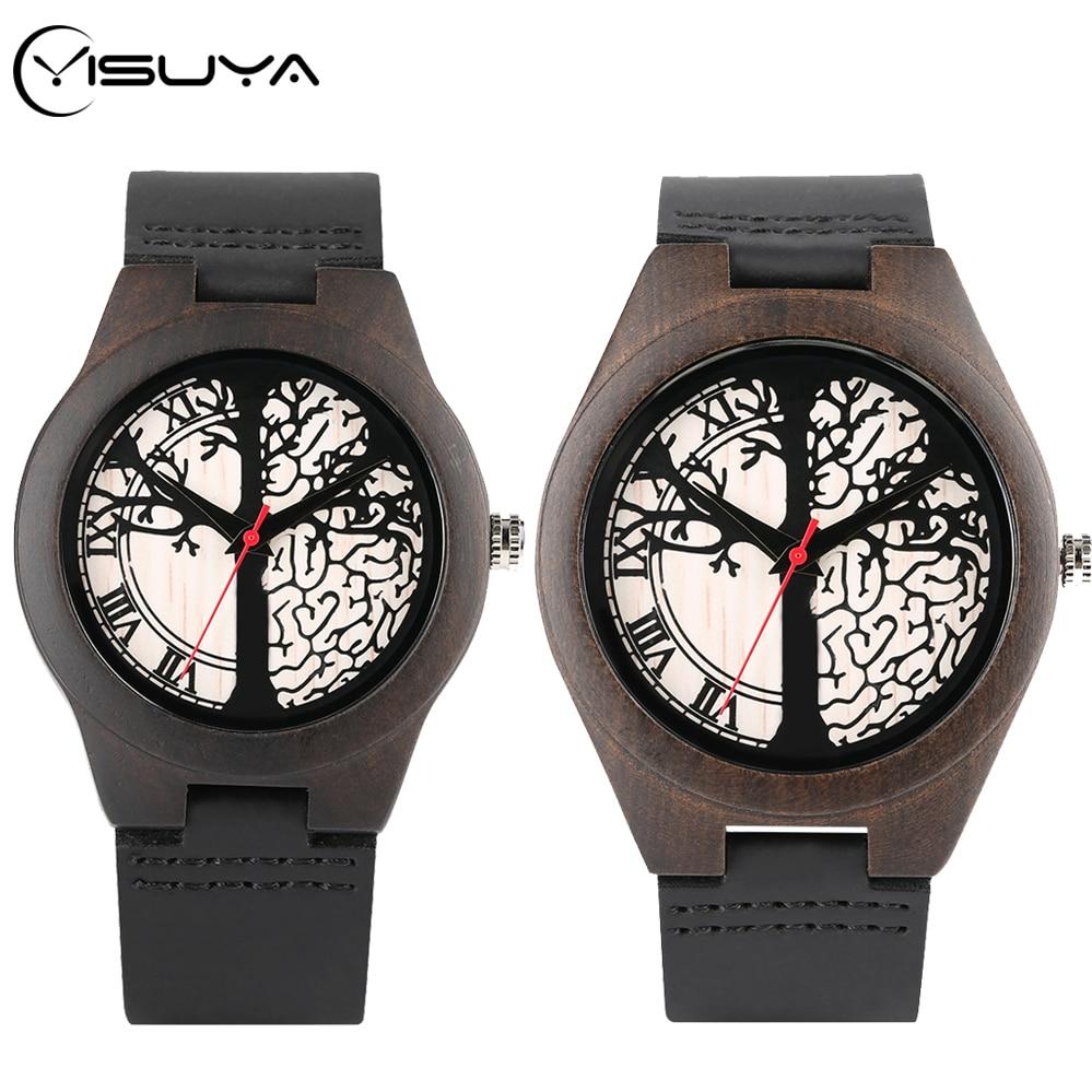 YISUYA Art Life Tree Sketch Wood Watch Handmade Quartz Wooden Clock Male Genuine Leather Lover's Gifts For Men Women Retro Reloj