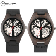 YISUYA Life Tree Design Wood Watch Red Pointer Clock Genuine Leather Wa