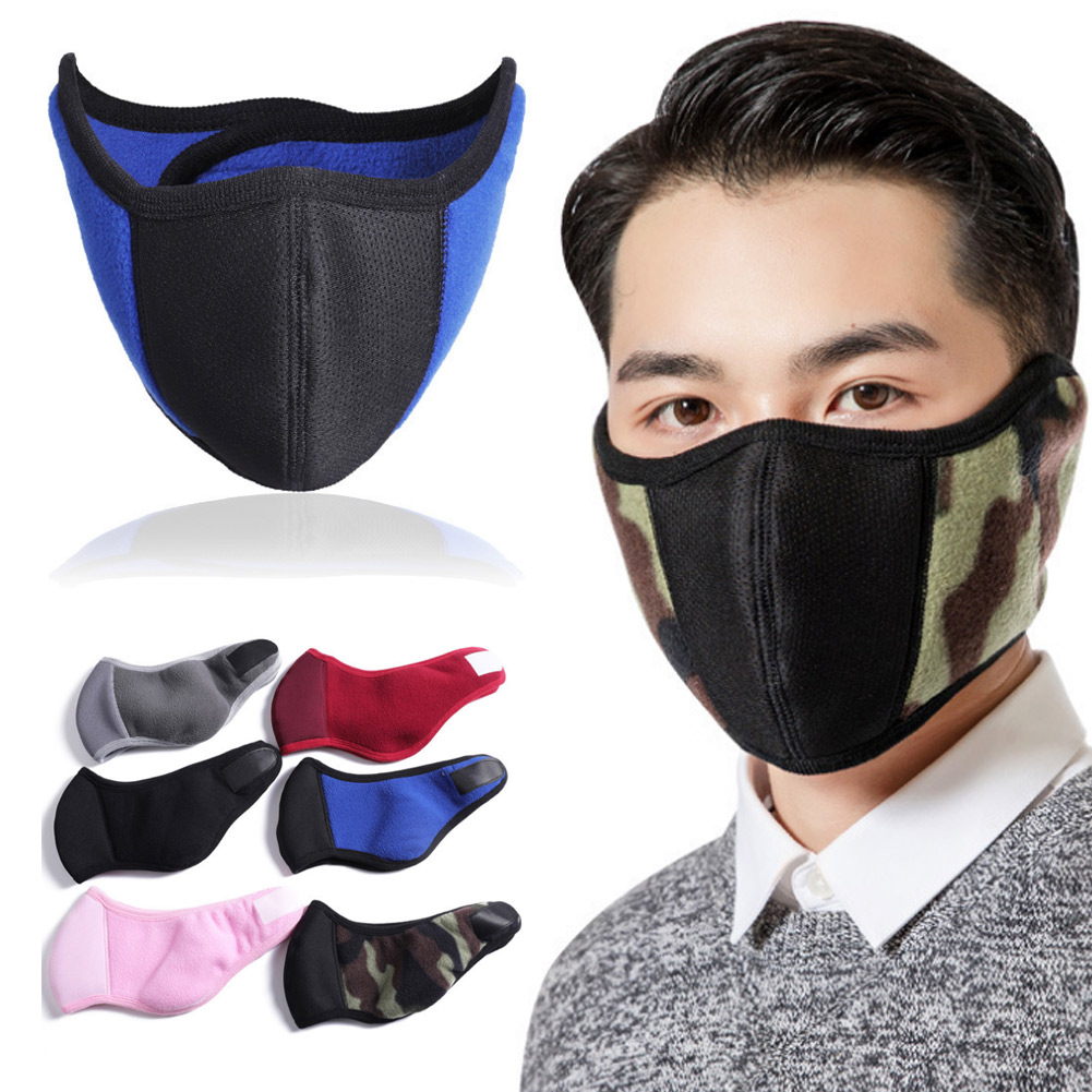 Windproof Plush Mask For Women Men Warming Breathable Half Face Masks Winter Sports  Riding Cycling TH36