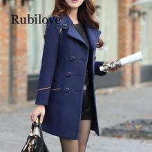 Rubilove Womens Wool Coat Winter Fashion Jacket For Women Clothes Long Trench Blends Female Solid Woolen Coats