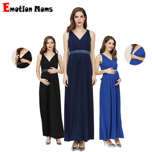 Image 1 - Emotion Moms Party Maternity Clothes Pregnant Elastane Dresses  V neck Pregnancy Clothes For Pregnant Women Of Europe