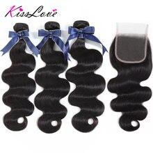 Pelo brasileño onda del cuerpo 3 paquetes con cierre 100% paquetes de cabello humano con cierre Remy extensión de cabello humano KissLove
