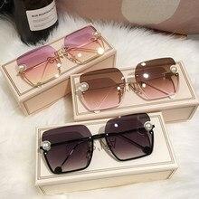 MS 새로운 여성 선글라스 무테 UV400 진주 고품질 그라디언트 태양 안경 여성 oculos 상자