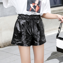 Top brand Winter Autumn and New Patent Leather Sheepskin Leather Shorts  high quality