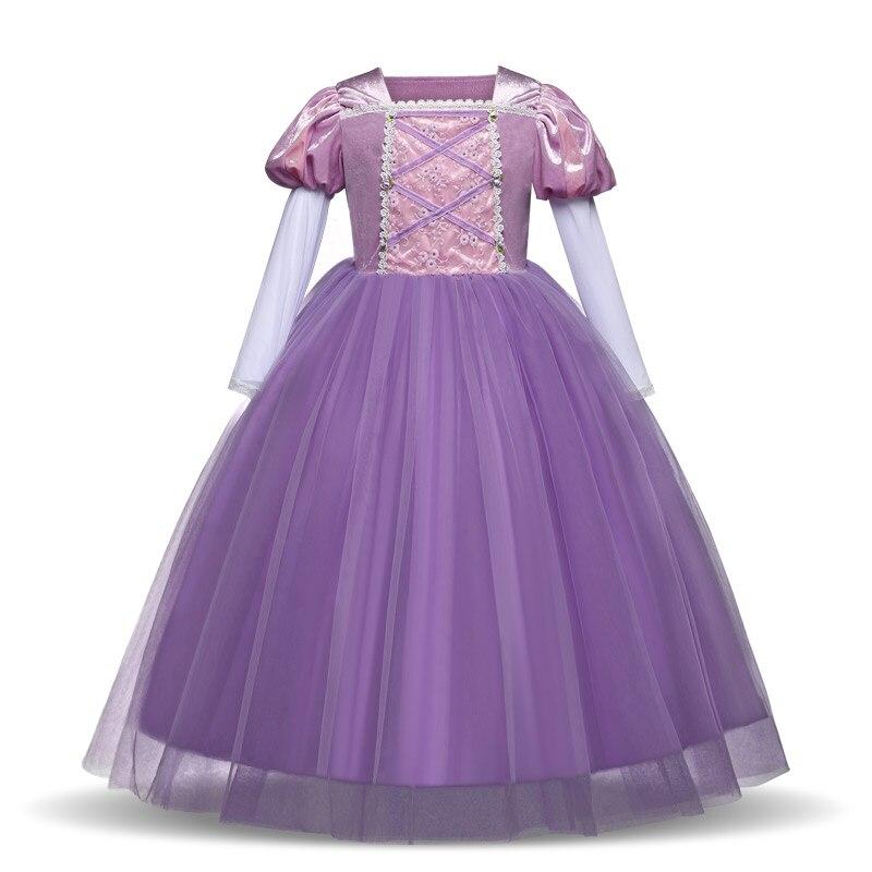 Long Sleeve Girls Christmas Dress Princess Dress up Halloween Party Gown Cartoon Character Cosplay Costume for Kids Children 4