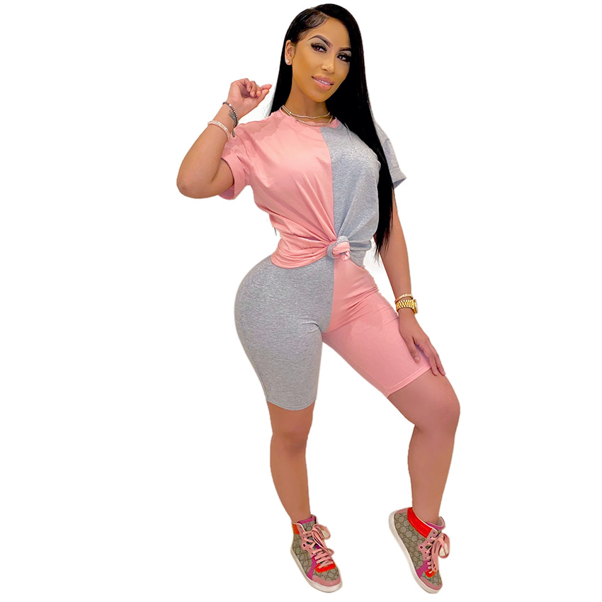2020 Women Sets Summer Tracksuits Patchwork Sportswear Tops + Shorts Two Piece Suit Set Club Party Street 2 Pieces Sexy Outfits 6