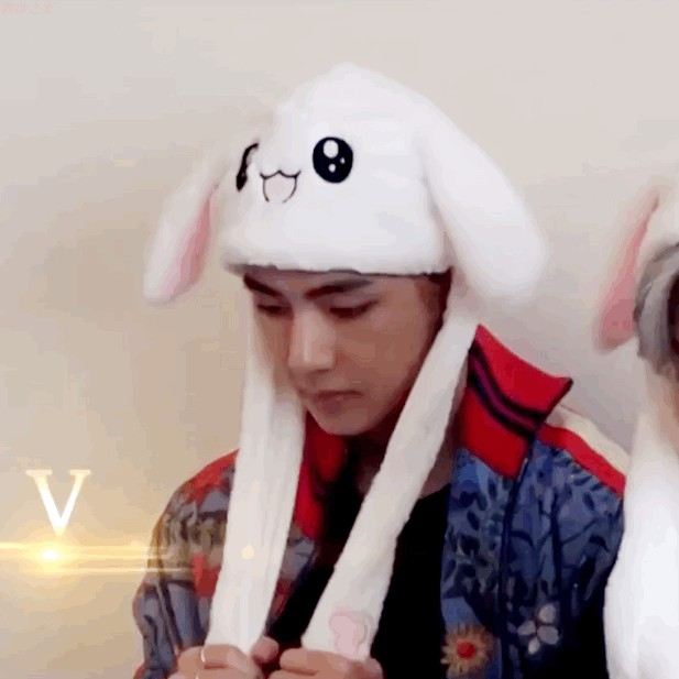 New Kpop Bangtan Boys Blackpink Rabbit Hat Shake Move Bunny Ears Animal Thicken Kids Winter Knit Animal Beanie Cap Cute Hat
