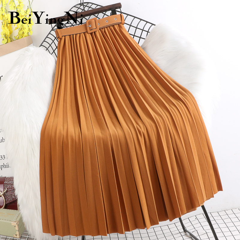 Beiyingni High Waist Skirts Womens Belt Fashion Metallic Party Midi Pleated Long Skirt Black Pink Casual Korean Falda Mujer Saia