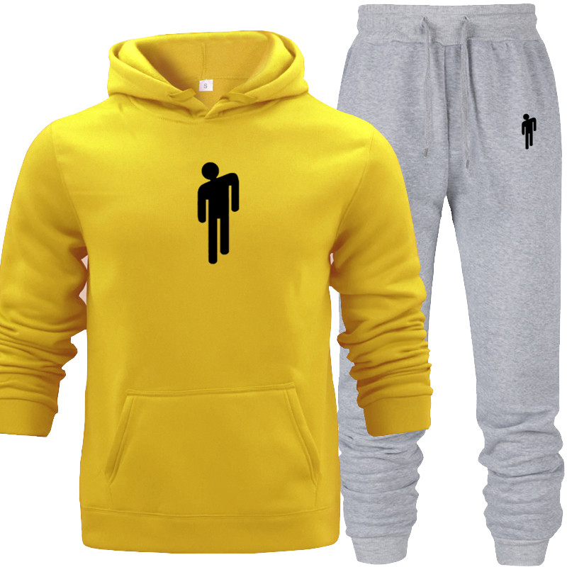 Long Sleeves Hoodies Mens Two Piece Set Winter Autumn Warm Cotton Hoodie Casual Full Pink Sweat Suits Sweatshirt Tracksuit Gray