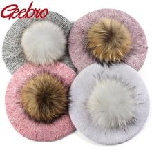 Hats Beanie-Hat Beret-15cm Angora Geebro Bonnet-Caps Rabbit Female Winter Women New-Fashion