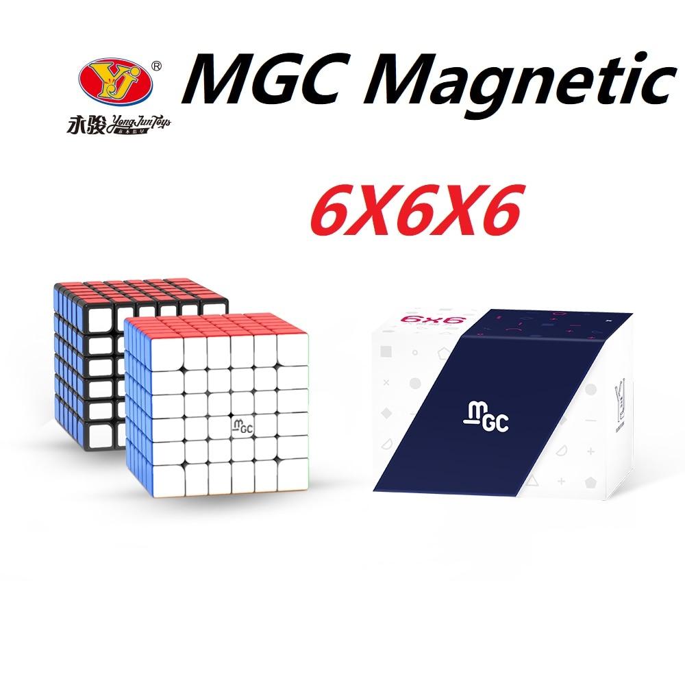 Оригинальный магнитный Магический кубик YJ MGC 6x6, магнитный Магический кубик yongjun MGC 6, магнитный кубик-головоломка, скоростные кубики, обучающ...