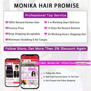 Image 5 - Monika Brazilian Hair Weave Bundles with Frontal Loose Deep Wave Bundles With Frontal Non Remy Human Hair Frontal with Bundles
