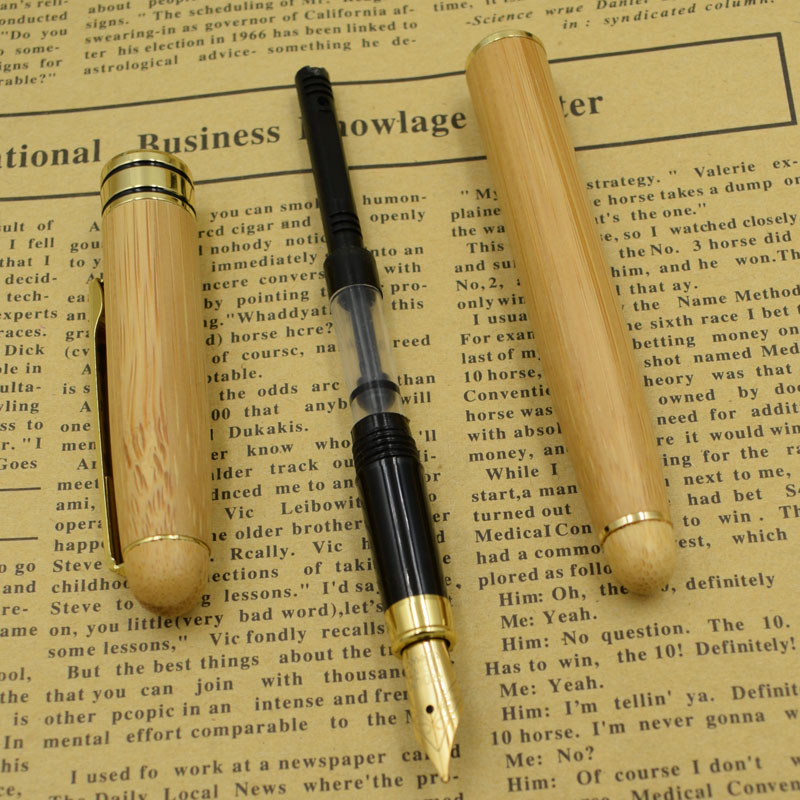12 Pieces Lot Fountain Pens Wholesale Ink Pen From Nature Bamboo Material Stationery Bamboo Writing Supplies Gift Joy Corner in Fountain Pens from Office School Supplies