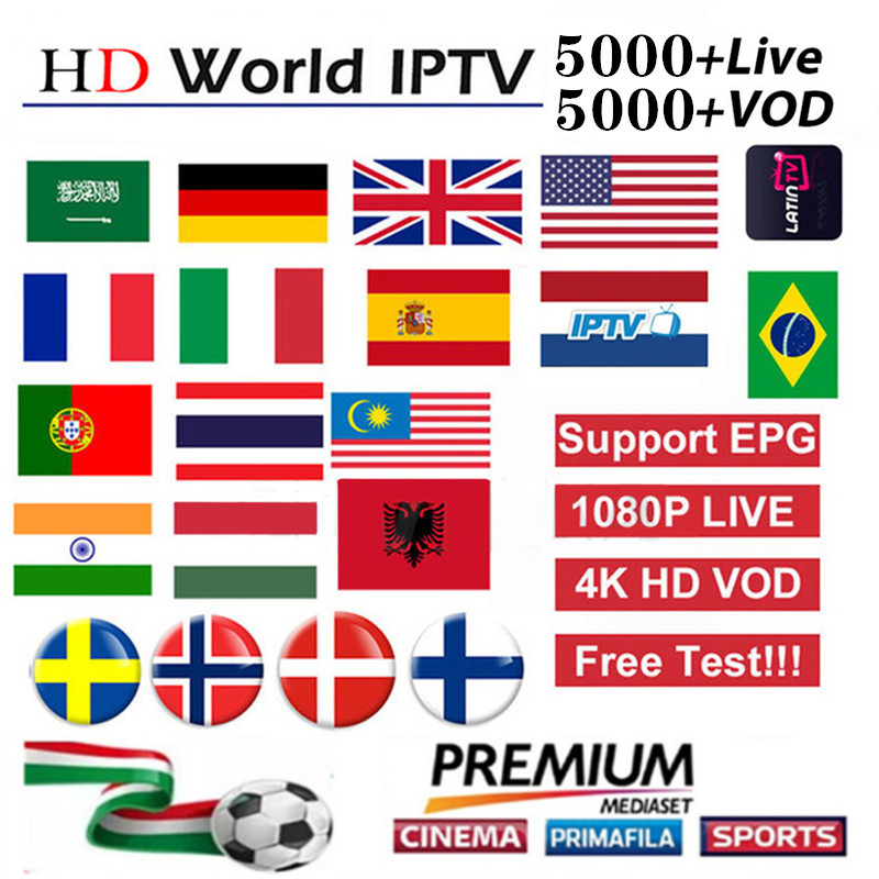 HD World IPTV +5000 Live 5000 VOD 4K HD Channel Best For Europe Arabic Asian Africa Latino America Global IPTV Subscription