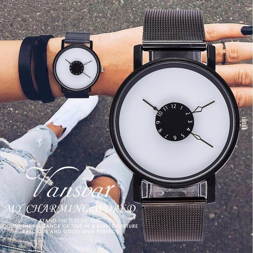 Vansvar Brand Women Creative Turntable Second Hand Watch Luxury Black Steel Mesh Belt Wrist Watches Relogio Feminino
