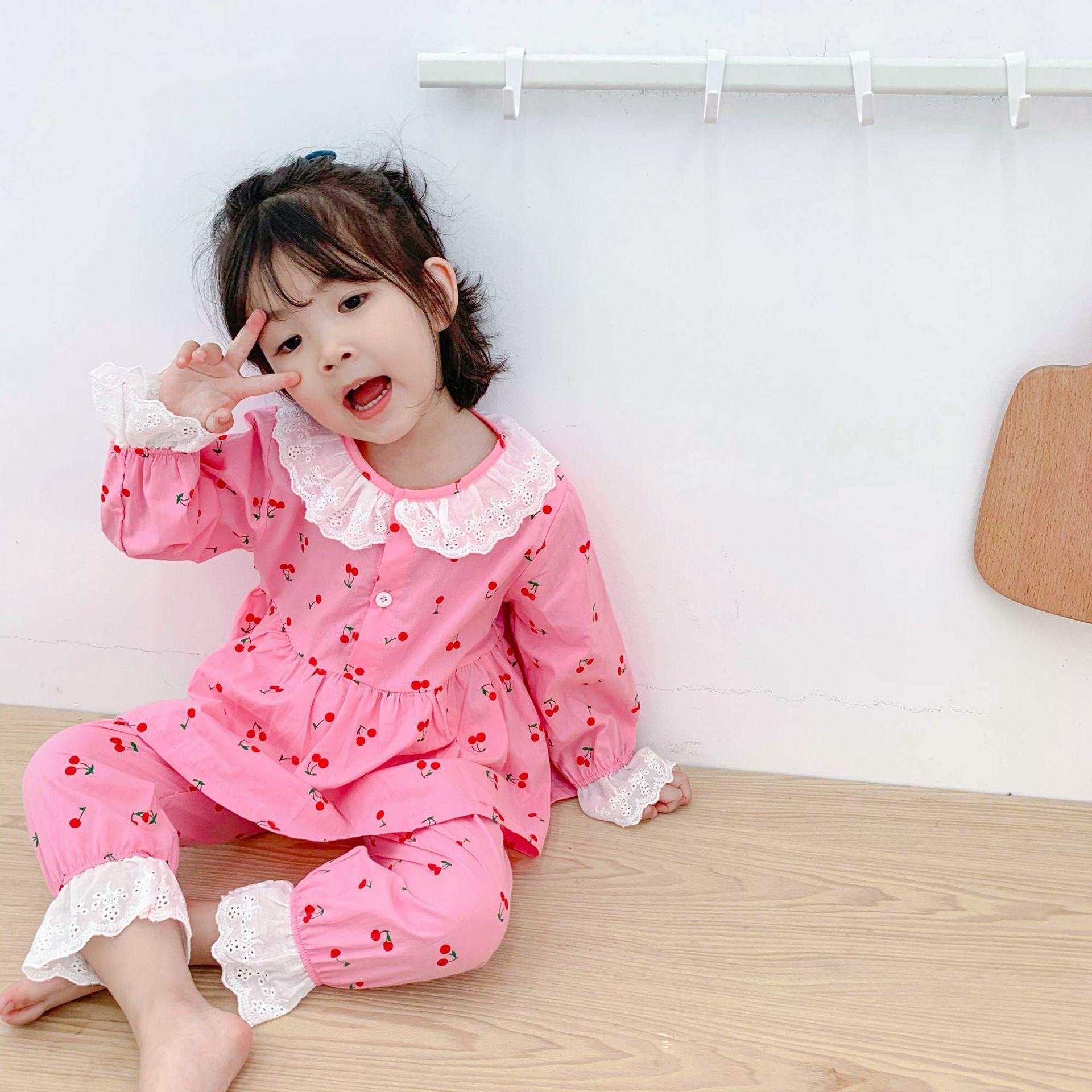 Childrenswear 2019 Autumn Girls Cute Cherry Lace Tracksuit CHILDREN'S Pants Long Sleeve Pajamas Suit