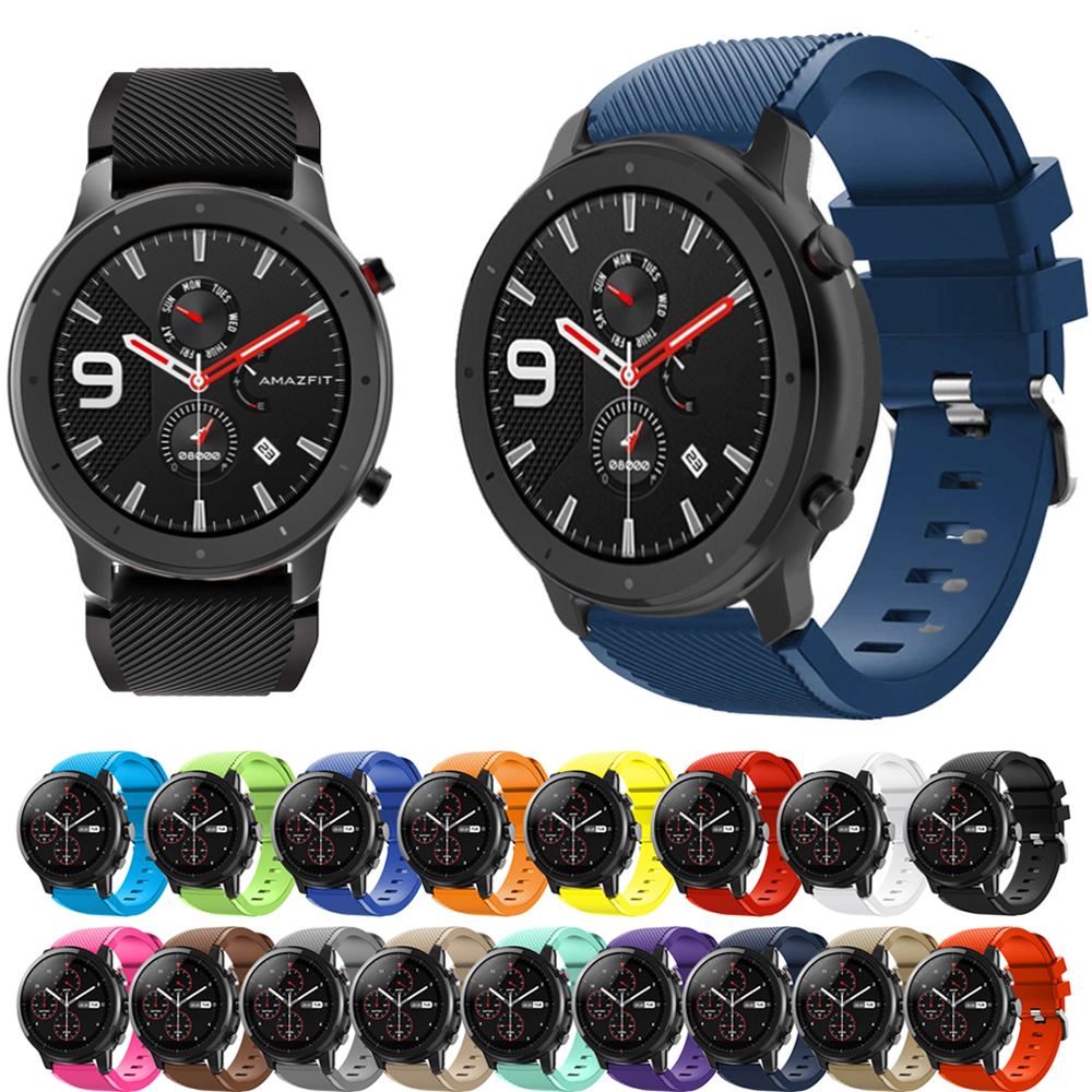 22mm Silicone Band Strap For Huami Amazfit GTR 47mm/Pace/Stratos 2/2S Band For Samsung Galaxy Watch 46mm/Gear S3 Strap Bracelet
