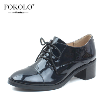 FOKOLO Casual Shoes Women Patent Leather Round Toe Lace-Up Solid High Heel Derby Shoes Summer Genuine Leather Ladies Shoes P12
