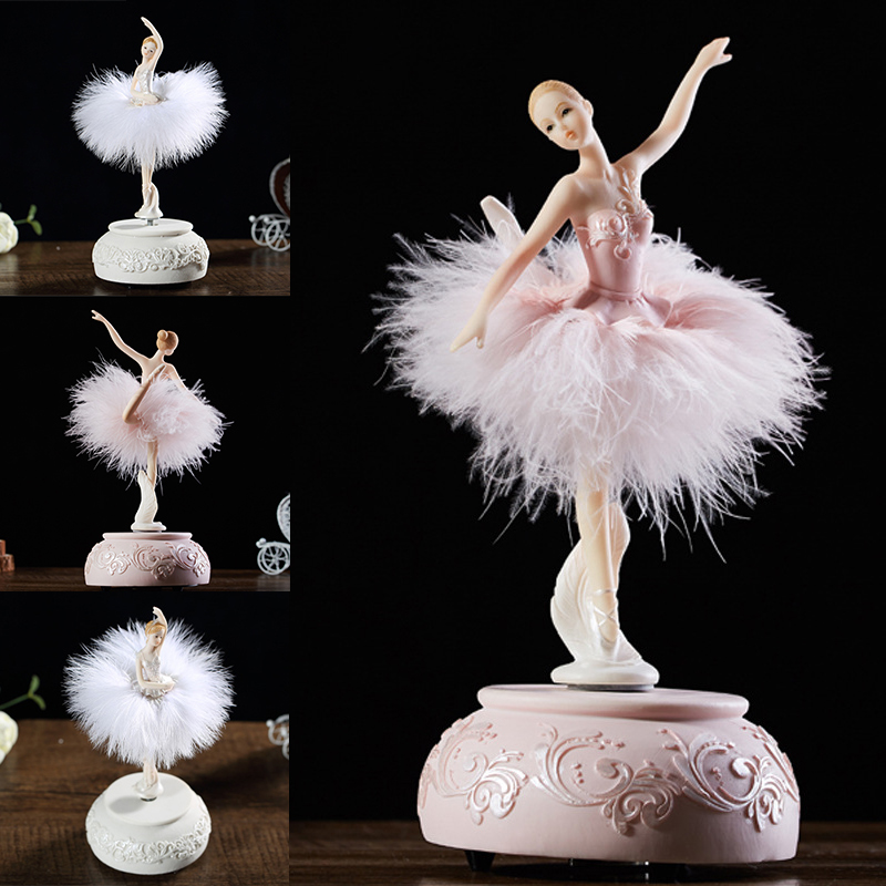 Ballerina Music Box Dancing Girl Swae Lake Carausel with Feather for Birthday Gift YU-Home