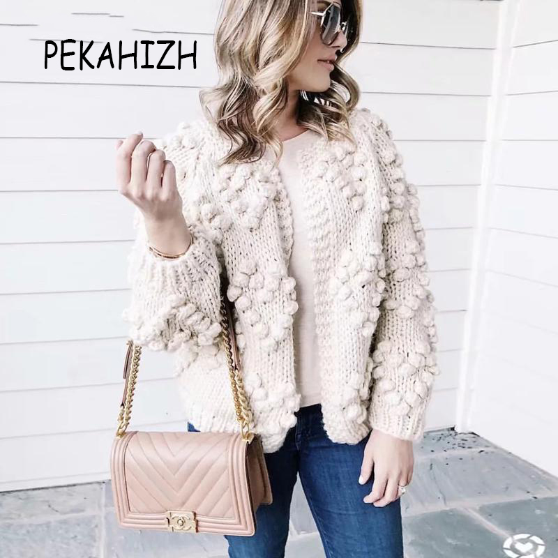 2019 automne hiver femmes chandail de mode hairball épais tricoté cardigan décontracté o cou à manches longues rose cardigan pull