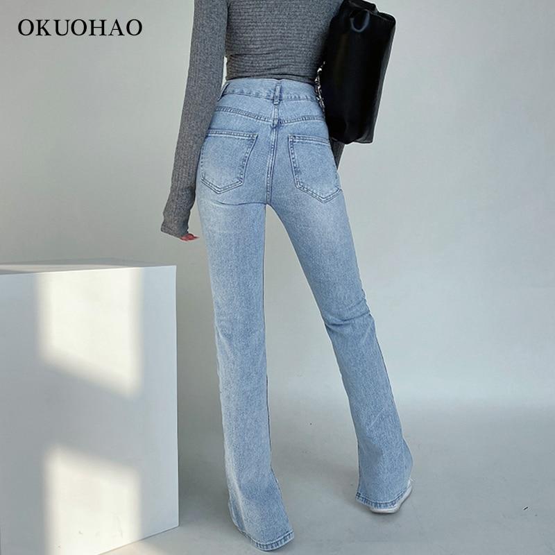 Women's Jeans High Waist Denim Pants Trousers For Female Fashion Elasticity Flared Jeans Split Boot Cut Wide Leg Pant 2021 2