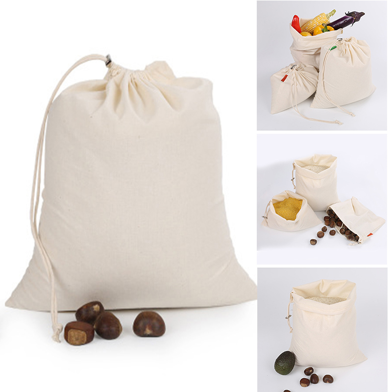 New Simple Reusable Cotton Durable Bags Ladies Women Washable Drawstring Bags Environment Shopping Bag