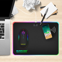 лучшая цена LED RGB Wireless Charger Mousepad 10W For QI Stardand Gaming Optics Mouse Mat Office Desk Computer Notebook Laptop Anti-Slip