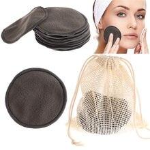 12 pçs/set reutilizável fibra de bambu lavável rodadas almofadas maquiagem remoção almofada algodão limpeza facial ferramenta cosméticos cuidados com a pele