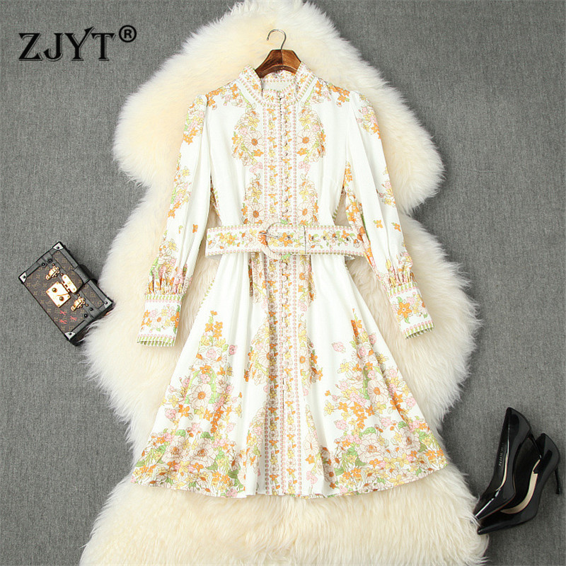 2020 Sprig Runway Dress Women High Quality Fashion New Lantern Sleeve Floral Print Vintage Aline Holiday Casual Dress with Belt