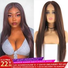 Perruque avant en dentelle synthétique pour femmes couleur marron moyen X TRESS longues perruques de cheveux raides Yaki fibre résistante à la chaleur délié naturel
