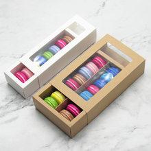 5 adet Kraft kağıt Macaron çerez kutuları pencere ile ambalaj Macaron kutu ambalaj kapları düğün doğum günü partisi